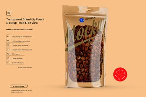 Transparent Stand-Up Pouch Mockup