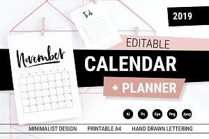 Editable CALENDAR 2019 Planner