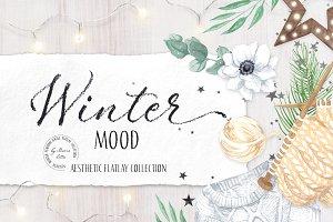 Winter mood aesthetic flatlay set
