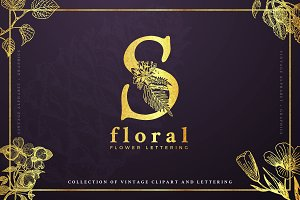 Vintage Floral Graphics and Letters