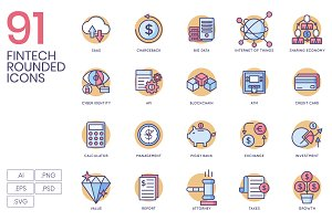 91 Fintech Icons - Rounded