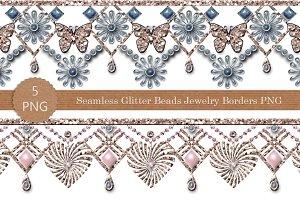 Seamless PNG glitter beads borders