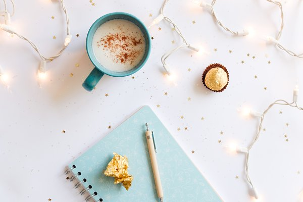 Holiday Stock Photos: Visual Bloom - Flat lay with lights and eggnog
