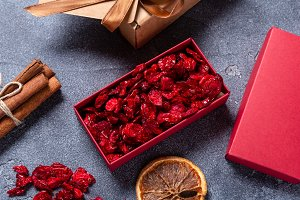Dried cranberries in red carton box