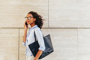 Side view of confident businesswoman