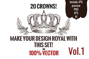 Kit of engraved vector crowns