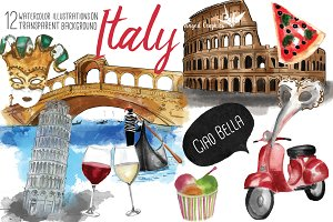 Italy: watercolor illustrations