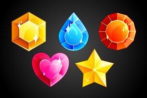 Set of 5 vector gems
