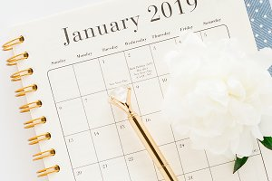 January 2019 Planner Stock Photo