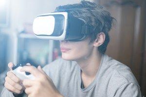 young emotional boy using virtual re