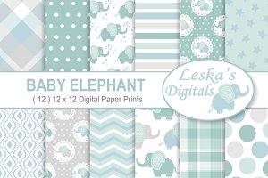Baby Elephant Digital Paper Patterns