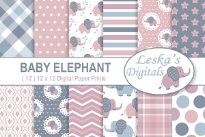 Baby Elephant Digital Patterns