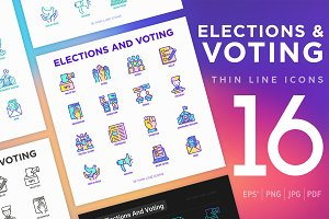 Elections And Voting | 16 Icons Set
