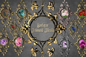 Baroque Framed Floral Clipart
