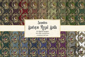 Baroque Royal Birds Digital Paper
