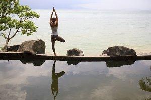 Woman practicing morning meditation