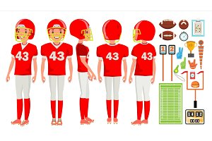 American Football Player Male Vector
