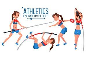 Athletics Female Player Vector. Win