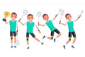Badminton Male Player Vector