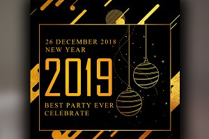 2019 Happy New Year Web Banners
