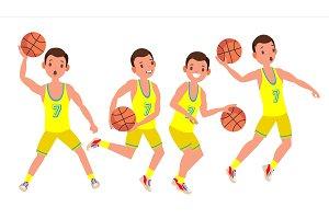 Modern Basketball Player Man Vector