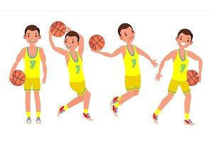Classic Basketball Player Man Vector