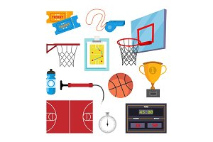 Basketball Icons Set Vector. Sport