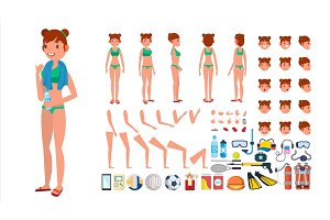 Woman In Swimsuit Vector. Animated