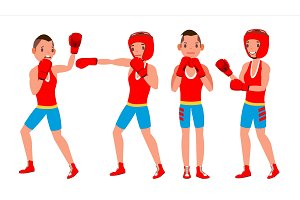 Boxer Player Vector. Strength Male