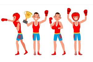 Boxer Training Vector. Boxing Sport