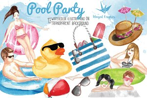Pool Party watercolor illustrations