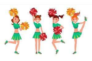 Cheerleader Girls Vector. In Action