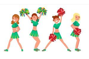 Female Cheerleader Vector. Different