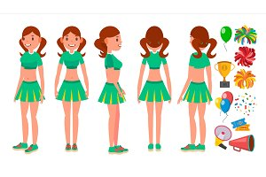 Cheerleaders Girls Set Vector