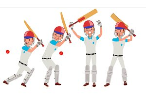 Cricket Player Vector. In Action