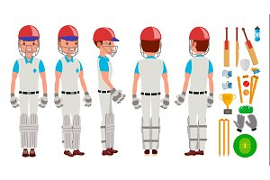 Professional Cricket Player Vector