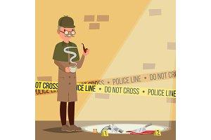 Crime Scene Vector. Detective At