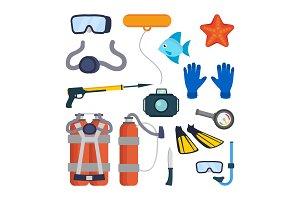 Diving Equipment Set Vector. Scuba