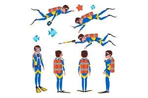 Professional Diver Vector