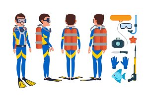 Diver Vector. Underwater. Diving At