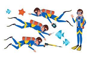 Scuba Diver Vector. Snorkeling