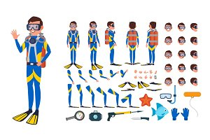 Diver Man Vector. Animated Character