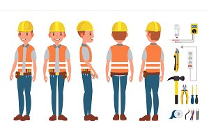 Electrician Worker Male Vector