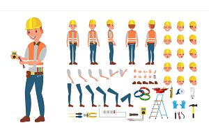 Electrician Vector. Animated