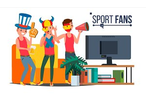 Sport Fans Group Vector. Cheering