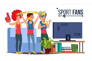 Sport Fans Group Vector. Fan