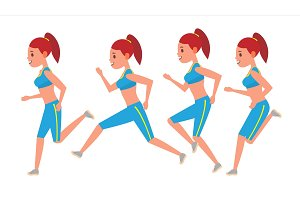 Female Running Vector. Animation