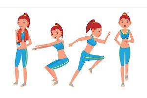 Fitness Girl Vector. Set. Various