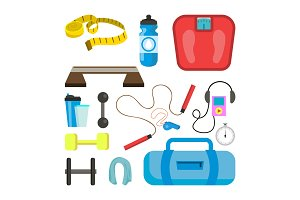 Fitness Icons Set Vector. Sport