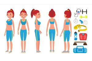Fitness Girl Vector. Different Poses